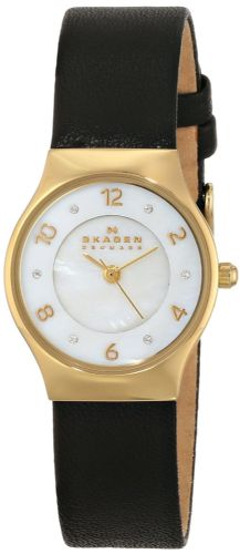 SKAGEN Grenen Gold Swarovski Leather Strap Ladies Watch SKW2209